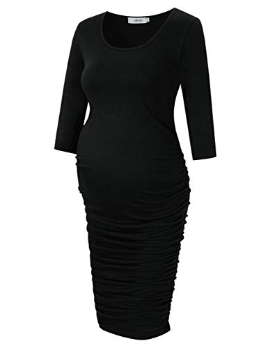 Coolmee MissQee Round Neck Ruched Maternity Dress (L, Black)