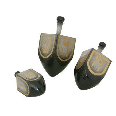 Wood Hanukkah Dreidel Set - Small Medium and Large. Grey and Black with Gold Trim and Lettering Design. (Wood Trim Designs)