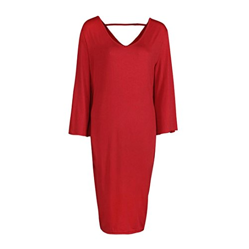 Damen Einfarbig Kleider TPulling Frau Mode Einfarbig Bedrucktes ...