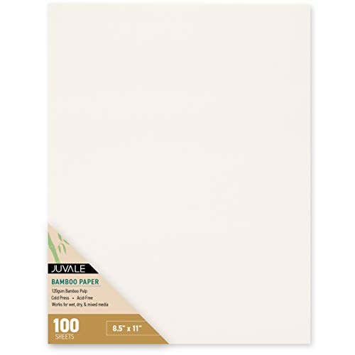 Juvale 100-Sheets 8.5 x 11 Inch Bamboo Cold Press Art Paper for Mixed Media, Painting, and Drawing