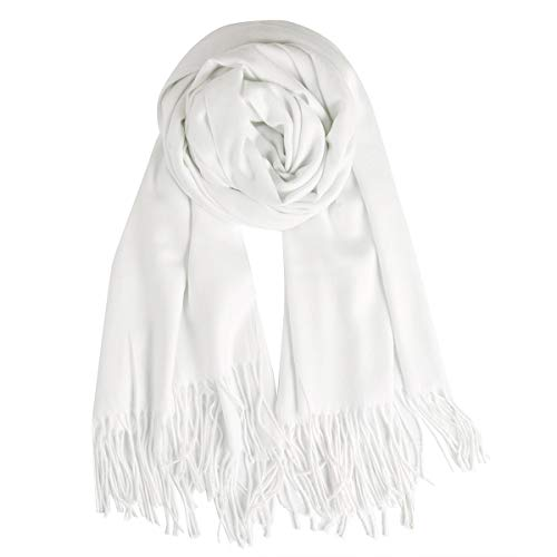QBSM Womens White Pashmina Scarf Winter Warm Soft Wedding Evening Dresses Shawls and Wraps