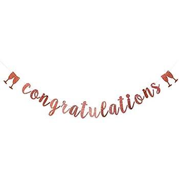 Amazon.com: Letrero con purpurina dorada de felicitaciones ...