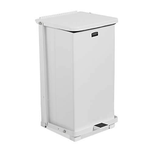 Rubbermaid Commercial Silent Defenders Quiet Step Trash Can with Rigid Liner, 12-Gallon, White - Defenders Step
