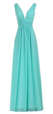 BISLU Women's Sexy V-Neck Ruched Waist Long Prom Evening Gown Bridesmaid Dress