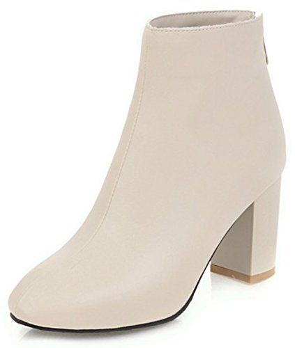 Aisun Womens Simple Dressy Round Toe Zip Up Block High Heel Ankle Booties With Zipper Beige BTp8kEN4Fb