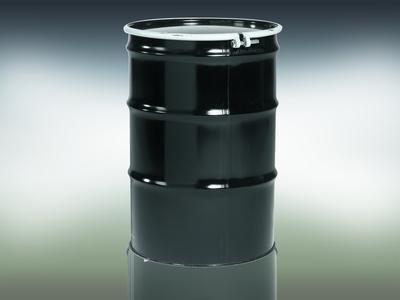 Qorpak 55 Gallon 16 Gauge Black Steel Unlined Open Head Drum with Bolt type Locking Ring - QOR