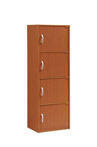 Cherry Door Four - Hodedah 4 Door, Four Shleves, Enclosed Storage Cabinet, Cherry