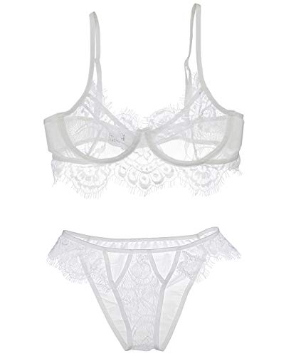 (Two Piece Eyelash Lace Lingerie Underwire Bra Set (White))