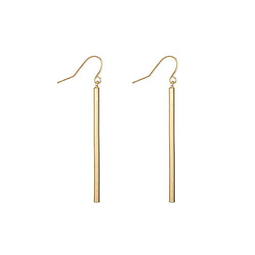 (Dcfywl731 Punk Simple Style Gold/Silver Plated Lightning Long Exaggerated Square Geometric Stick Drop Dangle Earring for Women Jewelry (C:Gold Earrings))