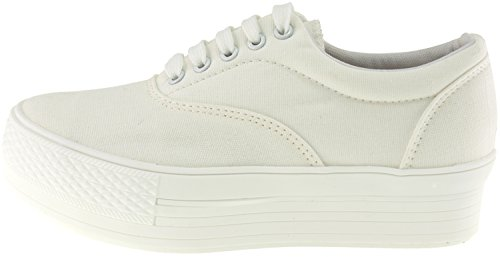 Shoes Platform Maxstar Sneakers Low Simple Boat Canvas White Top nT11qw0aH