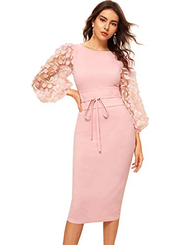 SheIn Women's Elegant Mesh Contrast Bishop Sleeve Bodycon Pencil Dress X-Small Pink##