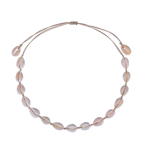 WIGERLON Natural Cowrie Shell Choker Necklace and Ankle Bracelet Set:Handmade Adjustable Summer Boho Hawaii Beach Puka Seashell Necklace for Women and Girls Only Necklace Color Beige ()