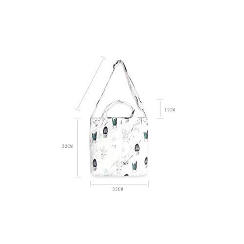 White White Hombro Y Compras Extra Largas Parte De Inferior Manijas Bolsa Cremallera Lona color Portátil Reforzada EqZBw6F