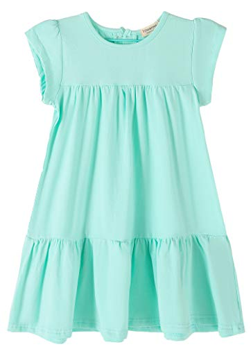(Youwon Toddler Girls Dress Short Sleeve Solid Color Tunic A-Line Tiered Swing Dress 2-6 7-16)