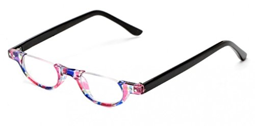 The Hunter Colorful Retro Half Under Frame Rimless Round Vintage Reading Glasses +2.00 Pink Blue Stripe (Carrying Case - Reading Half Glasses Moon Vintage