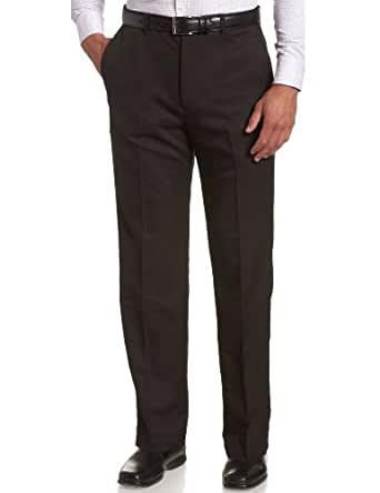 Haggar Men's Cool 18 Hidden Expandable Waist Plain Front Pant,Black,30x30