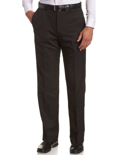 Microfiber Dress Pants (Haggar Men's Cool 18 Hidden Comfort Waist Plain Front Pant,Black,34x32)