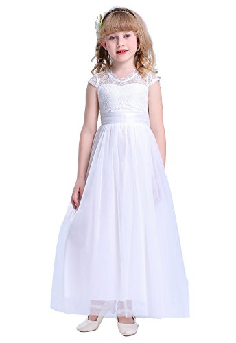 Happy Rose Vintage Lace Tulle Flower Girl Dress Wedding Party White Size -