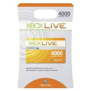 NEW X360 Live 4000 Points (Videogame Accessories) (Xbox 360 Live 4000 Points)