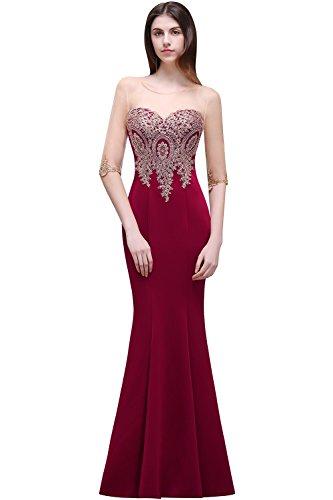 Weinrot MisShow lang Satin Partykleider Damen Abendkleid 4 nbsp;2017 Abendkleid Rot 3 Applikation Elegant mit Ballkleider Arm qxRgBw1Zq