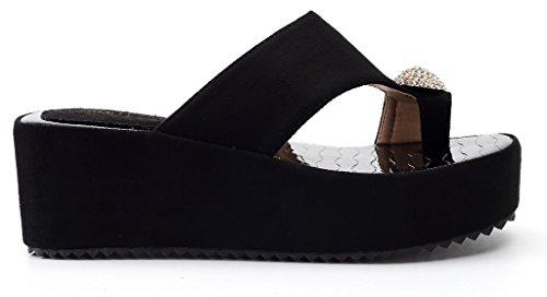 AgeeMi Shoes Sandalias Para Mujer Elegante Verano Punta Abierta Plataforma Negro (EuL14)