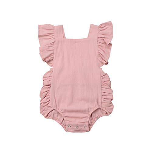 - ITFABS Baby Girl Cotton Romper Bodysuit Clothes Ruffles Backless Solid Romper Jumpsuit Sleeveless One-Piece Sunsuit Summer Outfit (Pink, 6-12 Months)