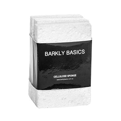 White Natural Sponges - 100% Biodegradable Natural Cellulose Sponges, Set of 3, White