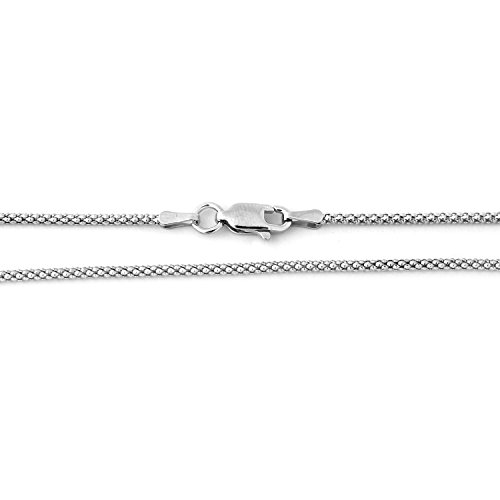 Solid Sterling Silver Rhodium Plated 1.6mm Popcorn Chain Necklace, ()