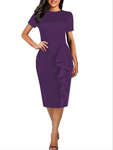 - Women's Vintage Short Sleeve Falbala Fold Party Pencil Dress(Purple,XXL)