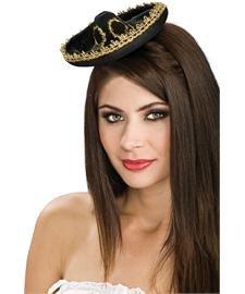 Rubie's Costume Co. Bk/Gold Mini Sombrero Costume, One Size, Multicolor -