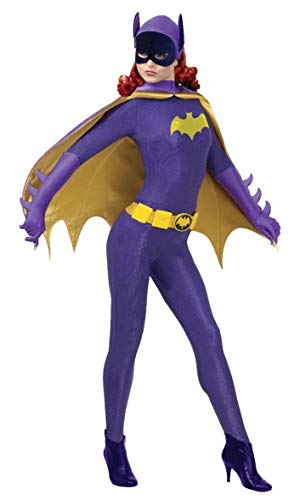 Harley Quinn And Poison Ivy Costumes (Rubie's Grand Heritage Batgirl Classic TV Batman Circa 1966 Adult Costume, Purple/Gold,)
