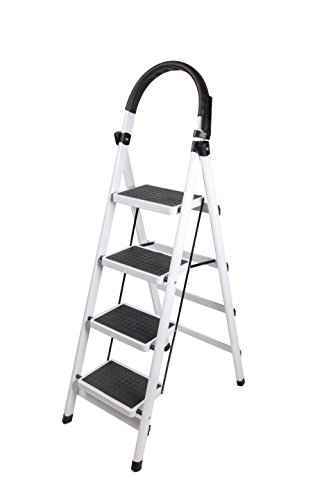 Gimify Household Folding 3-Step Steel Frame Stool 330lbs Capacity Platform Ladder with Plastic Cushion Handgrip & Anti-Slip Sturdy Wide Pedal Portable Steel Step Stool White Ladder (4 step) (Sturdy Platform)