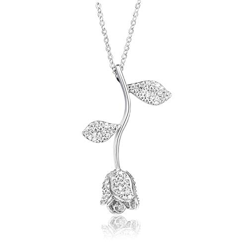 MQiong 18K Rose Pendant Valentine Necklace 3D Bling Vintage Elegant Rose Flower Chain Necklaces Romantic Gifts for Women Wife Girlfriend Lovers White Gold (Beauty And The Beast Rose Necklace Gold)