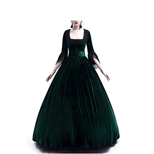 LY-VV Womens Gothic Victorian Lolita Dress Square Collar Velvet Halloween Witch Dress Green]()