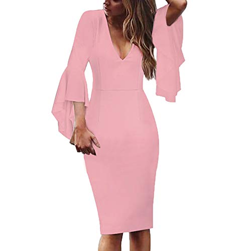 Amober Cocktail Dresses for Women One-Piece Casual Loose Elegant Cotton Fishtail Skirt Boho Long Dress Irregular Dress Pink