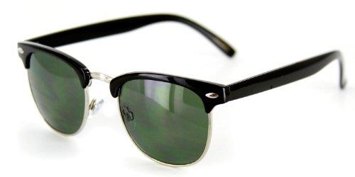 Retro Sun Sunglasses with Vintage Frames and Dark Tint for (Chrome Black Retro Glass)