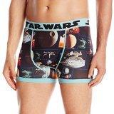 Star Wars Men's Death Star Space Scenes Boxer Briefs, Black, XXL