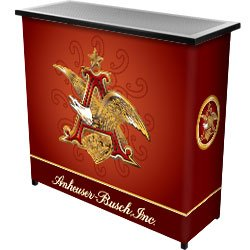 Trademark AB8000-AE Portable Bar Table With Carrying Case and Officially Licensed Budweiser Logo, Anheuser Busch