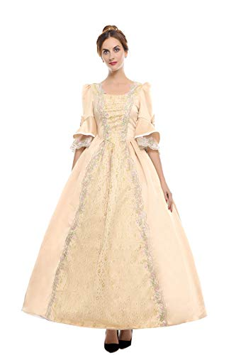 ROLECOS Womens Royal Vintage Medieval Dresses Lady Satin Gothic Masquerade Dress Golden -