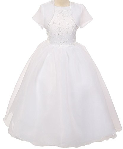 BNY Corner First Communion Flower Girl Dress Ivory & White Collection For Big Girl White 16 (Beautiful First Communion Dresses)