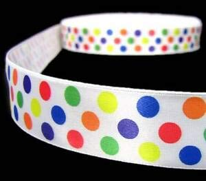 5 Yds Primary Color Polka Dot Red Blue Green Yellow Orange Satin Ribbon 7/8
