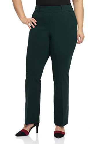 Rekucci Curvy Woman Ease in to Comfort Fit Barely Bootcut Plus Size Pant (22WSHORT,Hunter Green) ()
