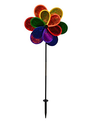 - In the Breeze 2725 Mylar Rainbow Sparkle Double Flower Spinner, 14-Inches