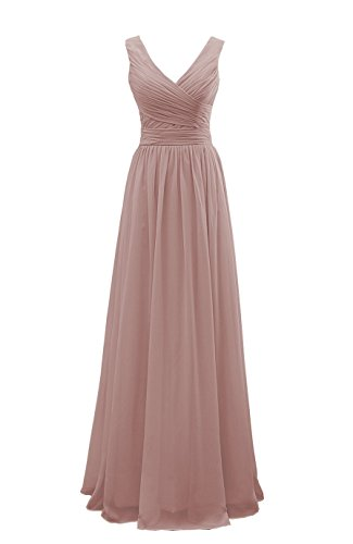 YORFORMALS Women's V-Neck Floor Length Chiffon Formal Evening Gown Long Bridesmaid Dress Ruched Bodice Size 8 Dusty Rose