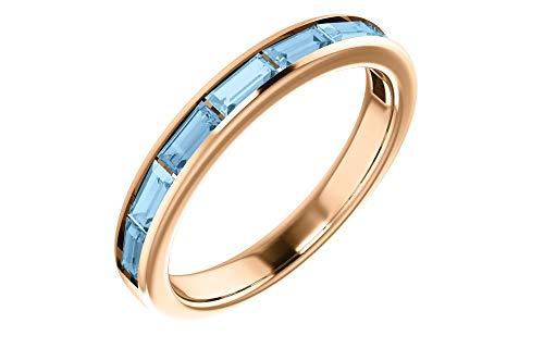 - 14K Rose Gold Sky Blue Topaz Baguette Anniversary Wedding Band