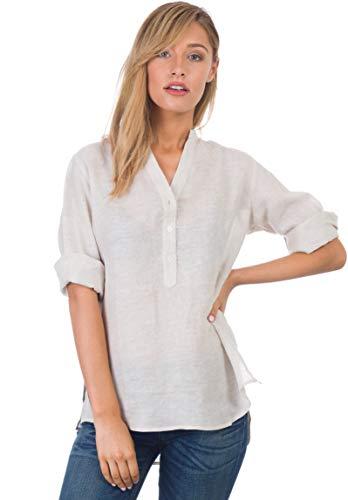 CAMIXA Women's 100% Linen Casual Button-up Popover Shirt Effortless Airy Basic XS Oat