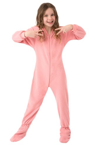Big Feet Pjs Big Girls Kids Pink Fleece Footed Pajamas (M) -