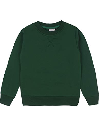 Spring&Gege Youth Basic Sport Crewneck Pullover Sweatshirts for Boys and Girls Size 9-10 Years Dark Green (Sweater Kids Green)