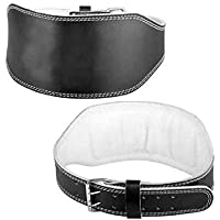 Fitness 19 Black Leather Weight Lifting Belt Body Fitness Gym Back Support Extra Wide 4 inches