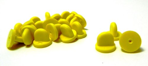 Set of 25 Yellow Comfort Fit Butterfly Clutch Rubber Lapel Hat Pin Backs